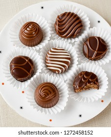 Delicious chocolate candies in paper cups