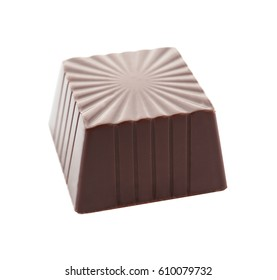 Delicious chocolate candy, isolated on white