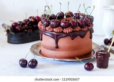 Delicious chocolate cherry cake