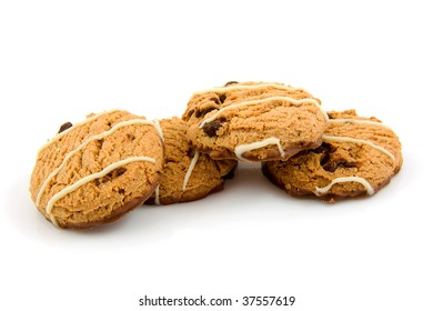 Delicious chocolate chip cookies isolated on white background