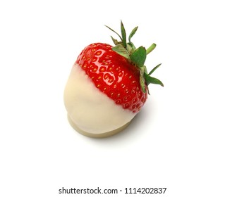 Delicious chocolate covered strawberry on white background