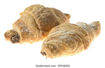 delicious chocolate croissant isolated on a white background