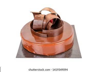 Delicious chocolate dessert with circular chocolate rings.