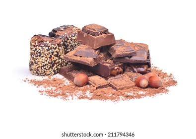 Delicious  chocolate  on a white background