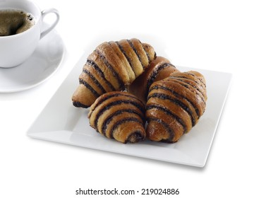 Delicious chocolate rugelach with hot coffee