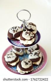 Delicious chocolate sprinkle desert with cream
