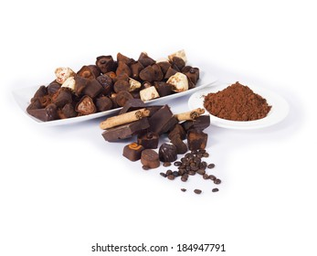 Delicious chocolates on a white background