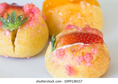 Delicious choux cream with bakery
