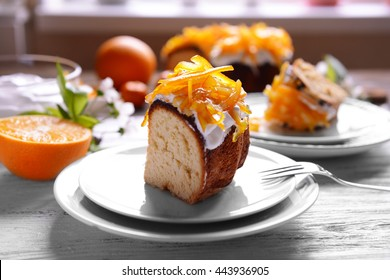 Delicious citrus cake served for breakfast