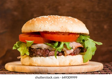 Delicious classic burger with steak closeup