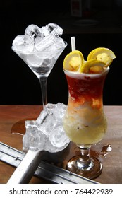 Delicious cocktail with fresh fruits and alcoholic beverage