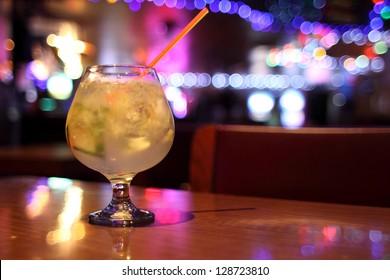 Delicious cocktail at a retro bar.