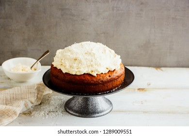 Delicious coconut cake with mascarpone cream