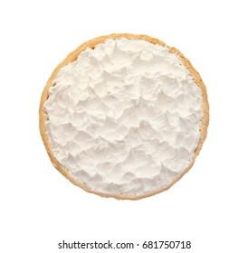 Delicious coconut cream pie on light background