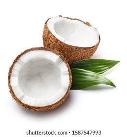 Delicious coconuts with leaves, isolated on white background