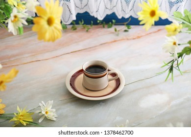 Delicious coffee on the table.