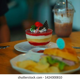 Delicious colorful sweets.Dad &Mom coffee The Coffe and Bekery Shop..Thailand Phang nga   9 jun 2019