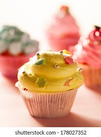 Delicious colourful cupcakes.