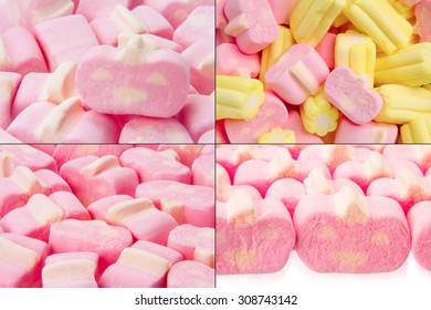 delicious and colourful marshmallow isolated on the  white background