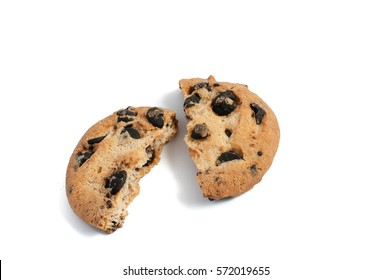 delicious cookies with chocolate broken on a white background