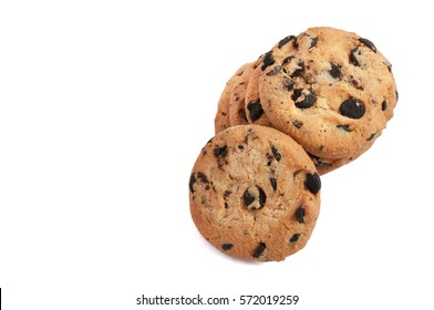 delicious cookies with chocolate stacked in a pile and photographed from above on a white background