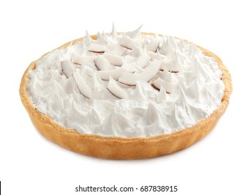 Delicious cream pie with pieces of coconut on light background