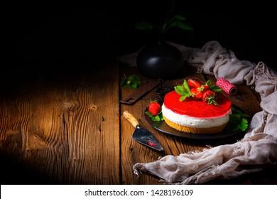 delicious cream quark pie with strawberries