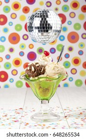 Delicious and creamy ice cream sundae