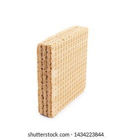 Delicious crispy wafer on white background. Sweet food