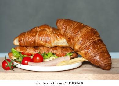 Delicious croissant sandwich.