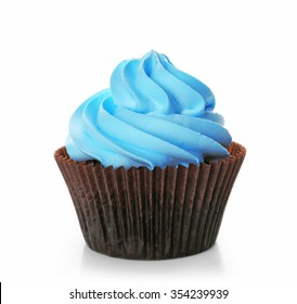 Delicious cupcake isolated on white background