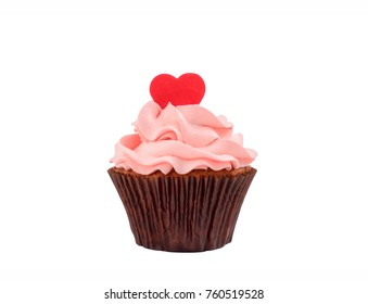 Delicious cupcakes for Valentine Day on white background