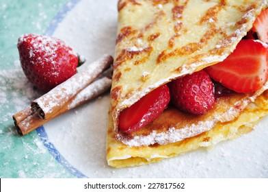 Delicious Czech sweet breakfast - Strawberry pancake