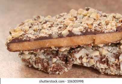 Delicious Dark Chocolate English Toffee with chopped pecan nuts
