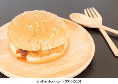 Delicious deep fried pork burger, stock photo