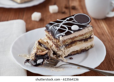 Delicious dessert cake with cream and   chocolate