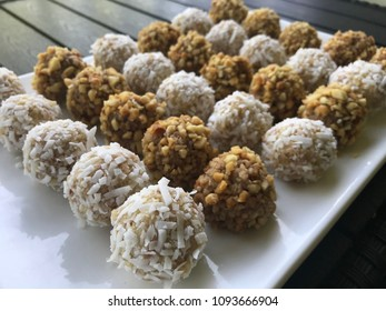 Delicious dessert - coconut and nut balls