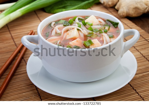 Delicious diet vegetarian soup on the table