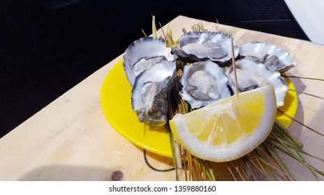 a delicious dish of 6 oysters just delicious with a lemon on a wooden board
