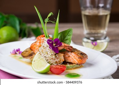 A delicious dish of grilled salmon and shrimp