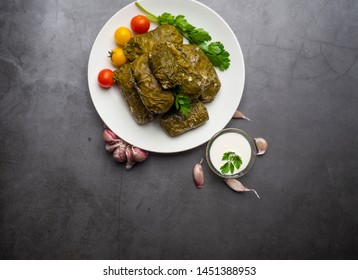 Delicious dolma sarma stuffed grape leaves rice, white yogurt sauce. Lebanese dolma sarma on plate. Lebanon turkish greek middle eastern cuisine. Dinner food dolmadakia or dolma. Yaprak sarma