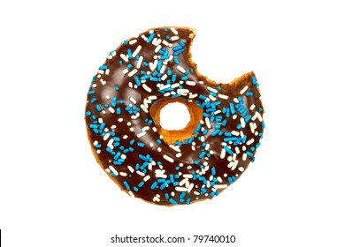 Delicious Donut with Bite Missing Isolated on a White Background