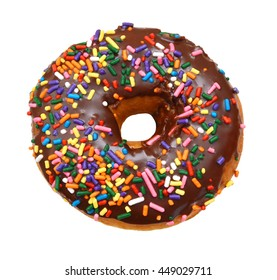 Delicious Donut with Sprinkles Isolated on White Background