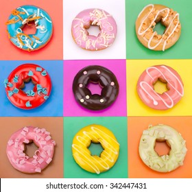 Delicious Donuts isolated on colorful background