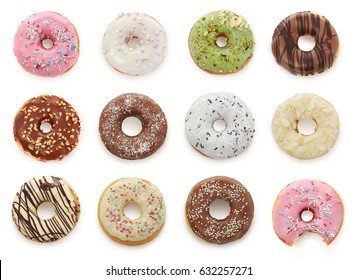 Delicious donuts isolated on white