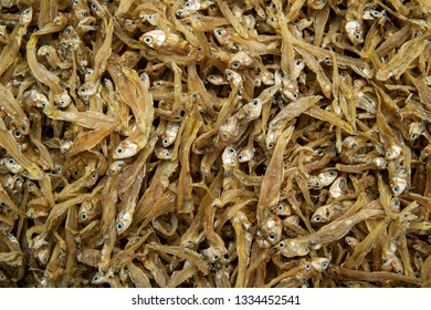Delicious dried fish in the market. Sun dried ant salted. Close up.