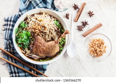 Delicious duck noodle soup. Traditional Thai dish