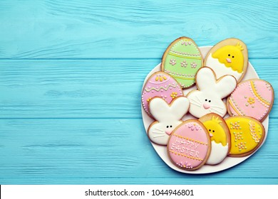 Delicious easter biscuits on a plate