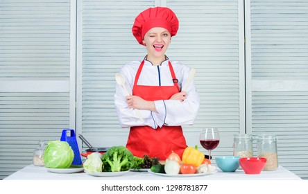 Delicious and easy recipes. Best culinary recipes to try at home. Lady adorable chef teach culinary arts. Professional culinary tips. Culinary show concept. Woman pretty chef wear hat and apron.