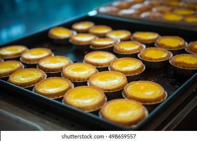 delicious egg tart on tray, Hong Kong food
